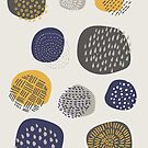 Abstract Pattern of Circles in Navy and Mustard by latheandquill