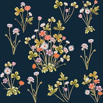 Meadow Floral, Autumn on Dark Denim by ThistleandFox