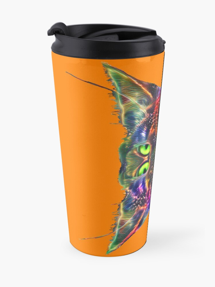 Alternate view of Artificial neural style Space galaxy mirror cat Travel Mug