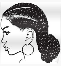 Black Woman Braids Hairstyle African American Beauty Salon Poster