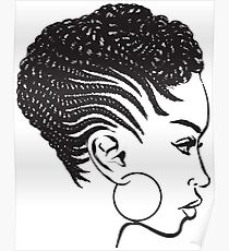 African American Braids Hairstyle Black Woman Beauty Salon Poster