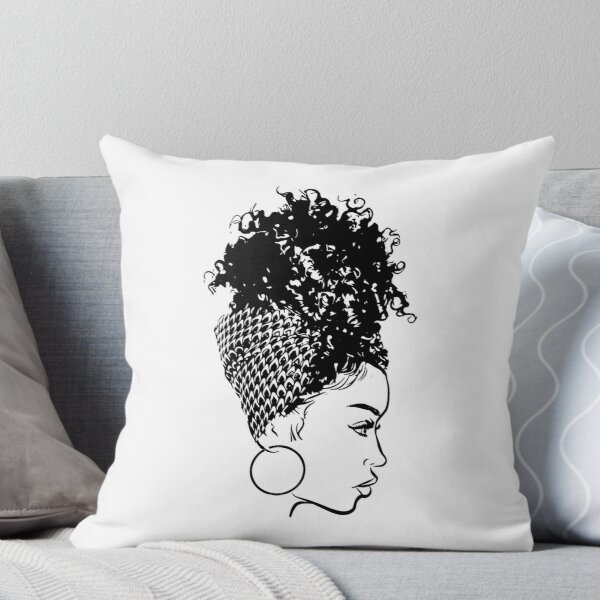 Black Woman African American Turban Hair Wrap Curly Hairstyle Throw Pillow