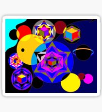 A Universe of Suns, Cubes and Planets Sticker