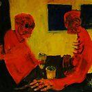 'old blokes at the pub' 90cmx70cm acrylics/pastels on pasteboard  by glennbrady