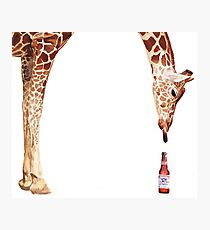 """""""Licker with Beer"""" Giraffe Watercolor Photographic Print"""