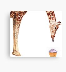 """Licker with Cupcake"" Giraffe Watercolor Canvas Print"
