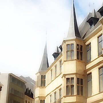 Luxembourg City - Old Town -painting by almawad