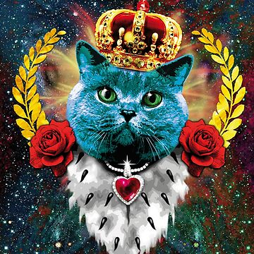 Blue Roses grumpy Cat Queen Crown blaue Katze Krone by Margarita-Art