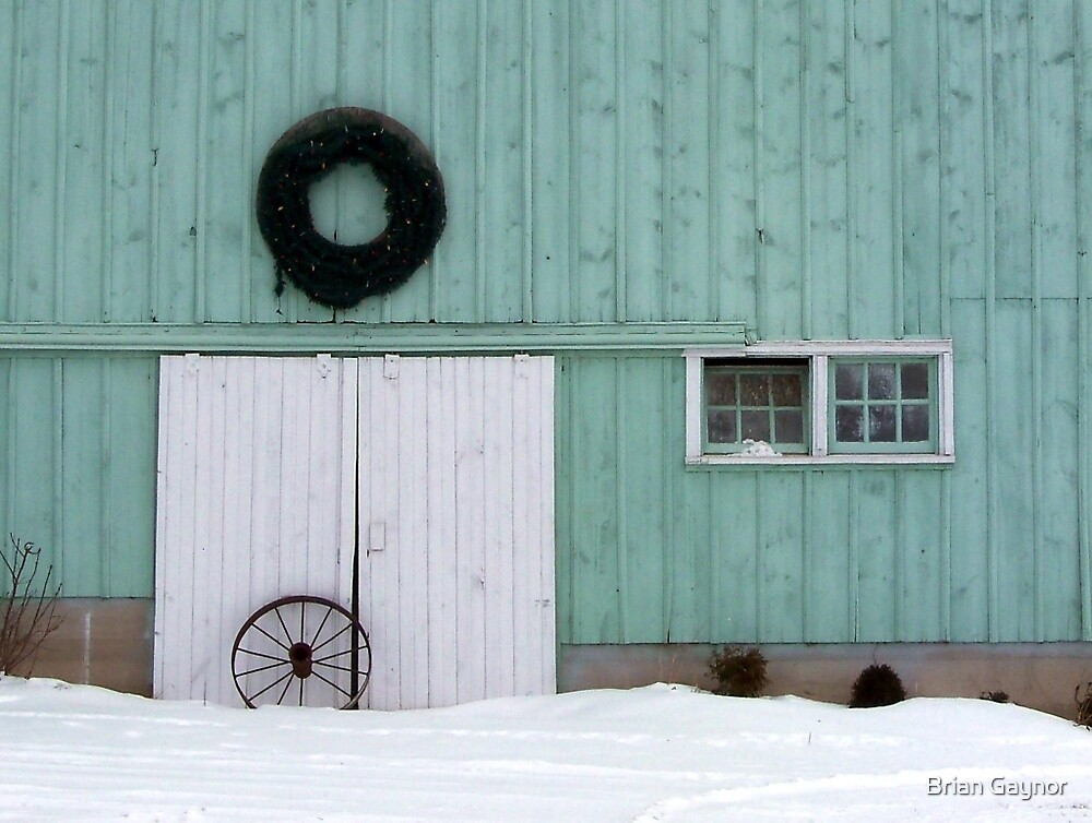 Wagon Wheel and Wreath by Brian Gaynor