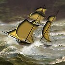 H.M. Brig Sloop of War during three days' and nights' hurricane in 1844 by Dennis Melling