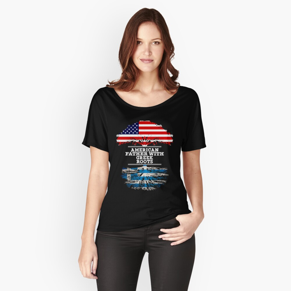 American Father With Greek Roots - Gift For Greek Dad Camiseta ancha