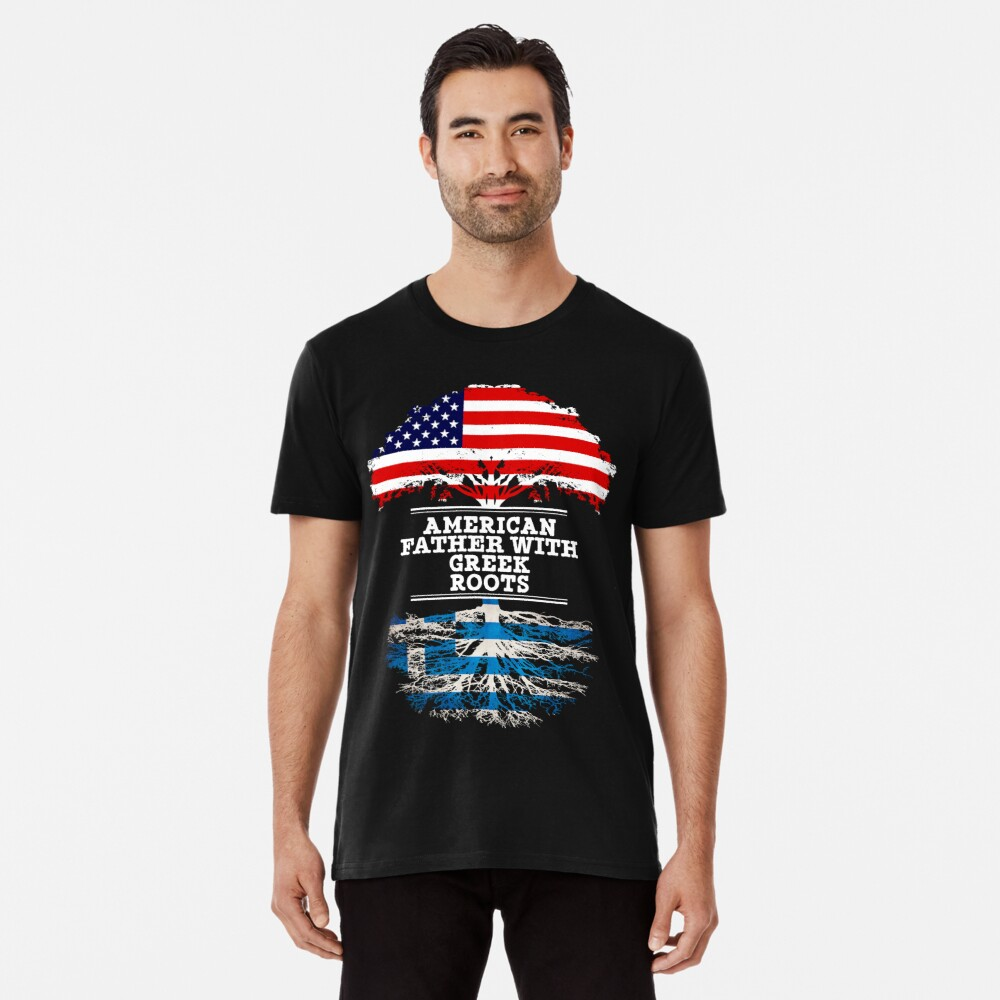 American Father With Greek Roots - Gift For Greek Dad Camiseta premium