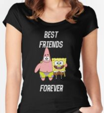 Patrick & Spongebob best friends forever [white text] Women's Fitted Scoop T-Shirt