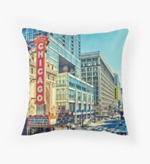 Chicago Theatre Street Throw Pillow