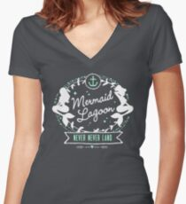 Mermaid Lagoon // Never Land // Peter Pan Women's Fitted V-Neck T-Shirt