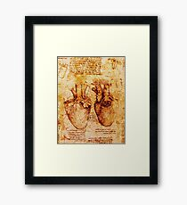 Heart And Its Blood Vessels. Leonardo Da Vinci,Anatomic Study 2,Brown Framed Print