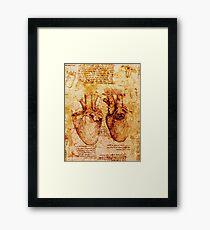 Herz und seine Blutgefäße. Leonardo Da Vinci, Anatomische Studie 2, Brown Gerahmtes Wandbild