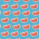 Watercolor Watermelon Slices Pattern by Erika Lancaster