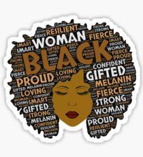 Black Woman Words in Afro Art Sticker