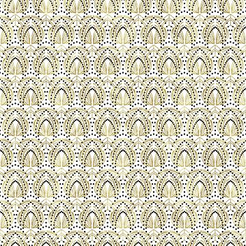 Gold black and white art-deco pattern by artonwear