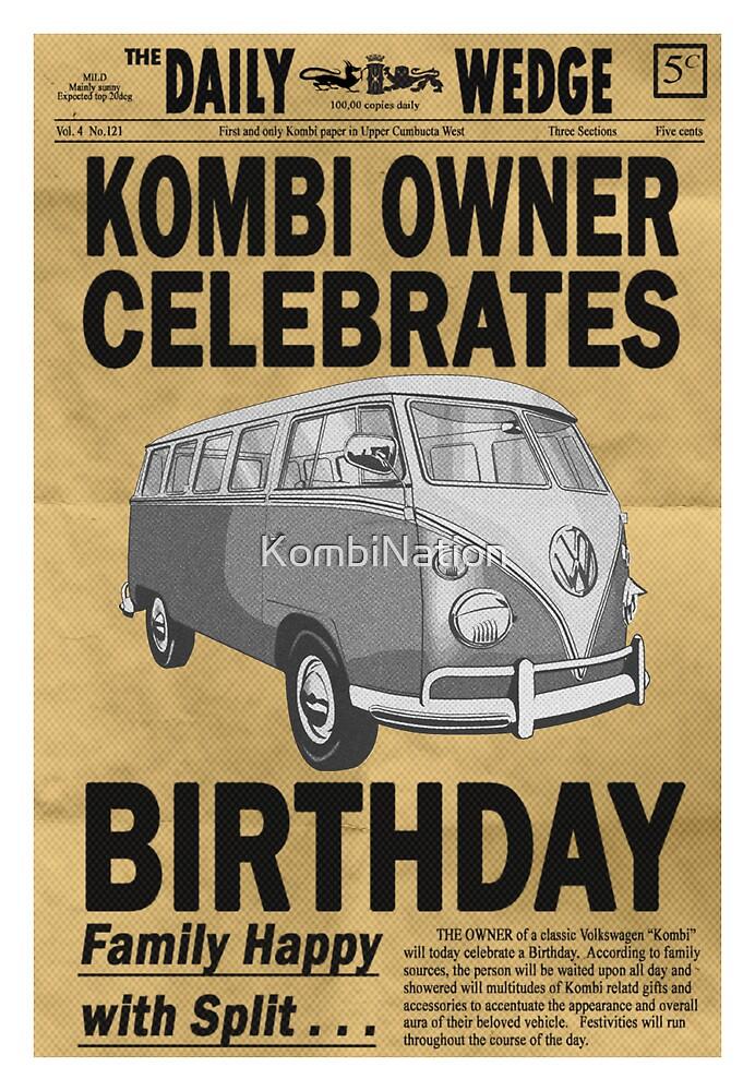 Volkswagen Kombi Greeting Card - Happy Birthday  by KombiNation