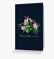 Forest Wildflowers / Dark Background Greeting Card