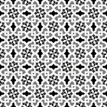 black and white -  Oriental design - orient  pattern - arabic style geometric mosaic by ohaniki