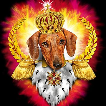 Dachshund King Crown Gold Royal by Margarita-Art