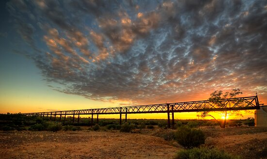 Sunrise Over Algebuckina Bridge by Jeff Catford
