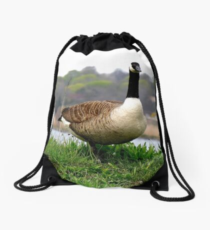 """""""One step closer and I'll """"goose"""" you---I'm NOT Mother Goose!"""" Drawstring Bag"""
