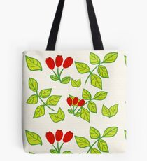 Wild rose on orange lines Tote Bag