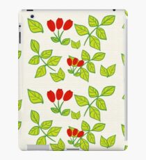Wild rose on orange lines iPad Case/Skin