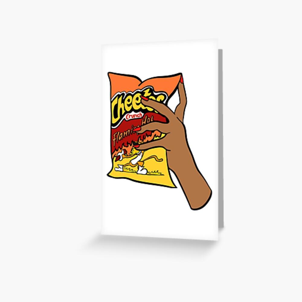 Flammende heiße Cheetos Grußkarte