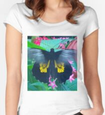 """Fluttering Beauty"", Photo / Digital Painting Women's Fitted Scoop T-Shirt"