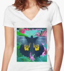 """""""Fluttering Beauty"""", Photo / Digital Painting Women's Fitted V-Neck T-Shirt"""