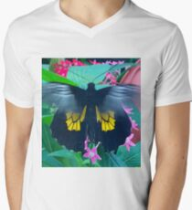 """Fluttering Beauty"", Photo / Digital Painting Men's V-Neck T-Shirt"