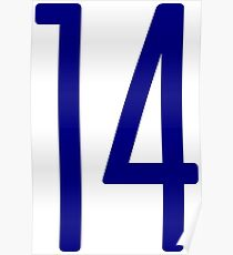 Tall blue number 14 Poster