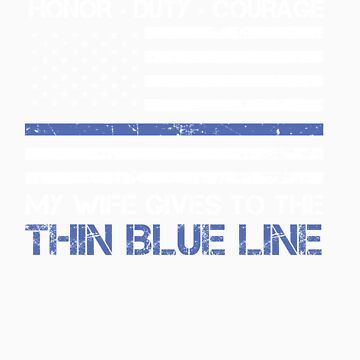 Thin Blue Line Family Shirt   American Flag Proud Wife by orangepieces