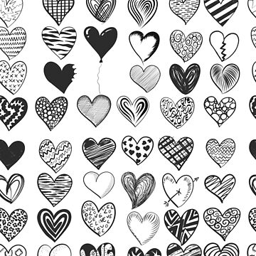 Love Hearts Black & White Pattern by critterville