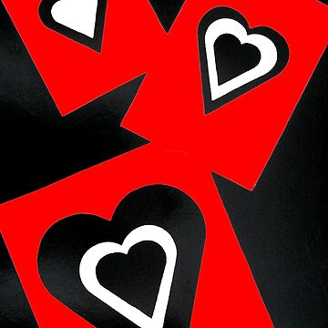 Hearts in Black Red and White  by Heatherian