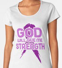 God Will Give Me Strength! Purple Ribbon Awareness Women's Premium T-Shirt