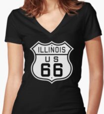 Illinois Route 66 Women's Fitted V-Neck T-Shirt