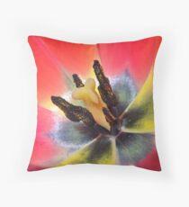 macro of red tulip interior Throw Pillow