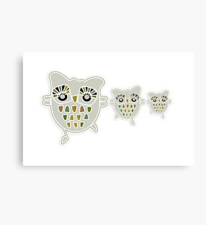 Eco Friendly Owl Family Hootenanny Canvas Print