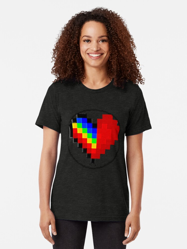 Alternate view of Emoji Heart 1 by RootCat Tri-blend T-Shirt