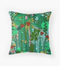 Pattern 91 - Tropical Emerald Forest Throw Pillow