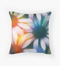 Echinacea photographed through prism filter Throw Pillow