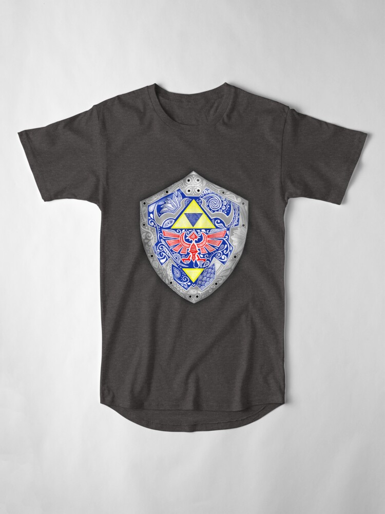 Vista alternativa de Camiseta larga Zelda - Link Shield Doodle