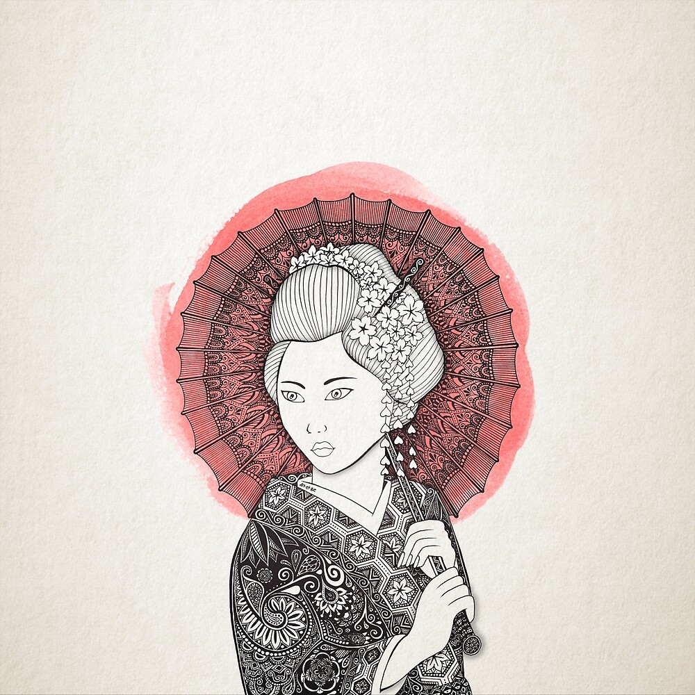 Japanese flag and Geisha by artetbe