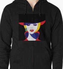 Girl in hat in pop art style. Zipped Hoodie